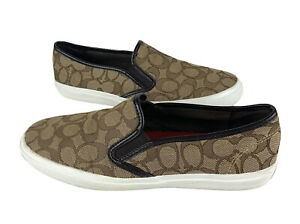 Coach Chrissy Sneakers Women Size 10B Brown Logo Signature Slip On Canvas Shoes