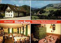 SCHÖNAU Schwarzwald Reklame-Karte Gasthaus Hirschen ca. 70er/80er Jahre