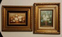 Painting Original floral roses vase (2) Framed signed gold wooden frames small