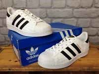 ADIDAS MENS UK 6 EU 39 1/3 WHITE BLACK GOLD SUPERSTAR WOVEN TRAINERS RRP £75