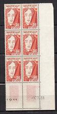 TUNISIE 1958 Y&T N°459 6 timbres neufs sans charnière coin daté 1.7.58 /KRT14