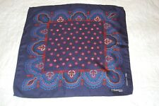 E MARINELLA VINTAGE ARCHIVE NAVY SILK POCKET SQUARE/HANDKERCHIEF. NEW