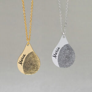 Personalised Fingerprint Necklace,Custom Name Tear Drop Necklace,Gift for Her