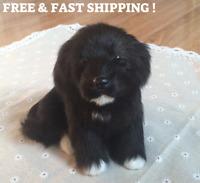 Realistic Black Dog Puppy Pet Plush Simulation Stuffed Mini Animal Cuddly Doll