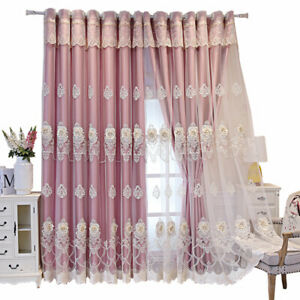 Luxury Blackout Curtain Blinds Floral Embossed Double Layer Drape Valance Home