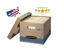 2 Fellows Extra Strength Decorative Storage File Banker Boxes Plaid Black//White