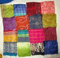LOT PURE SILK Antique Vintage Sari Fabrics REMNANT 20 pcs 5 inch SQUARES #ABDB7