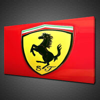RED FERRARI LOGO RACING CAR CANVAS PRINT WALL ART PICTURE PHOTO