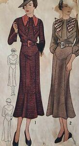 Vintage 1920s 1930s Sewing Pattern 1847 Ladies Dress 38 Bust Hip 41 As Is
