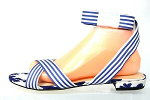 Cabi Blue White Floral Striped Canvas Gladiator Sandals Womens Size 10M