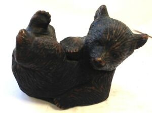 Hand Crafted Wooden Bear From Sherwood Forest Hand Carved Lounging Bear Figurine