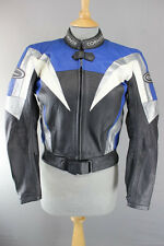 CORNER BLACK, BLUE, WHITE & SILVER LEATHER BIKER JACKET+REMOVABLE CE ARMOUR 34IN