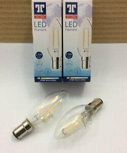 2 x 2.5w = 25w Watt LED B15 Small Bayonet Filament Warm White Candle Light Bulbs