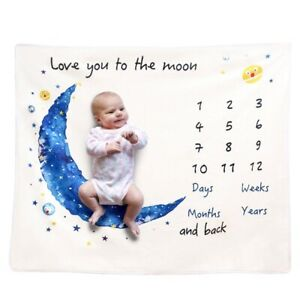Baby Monthly Milestone Blanket Flannel Swaddle Newborn Infants Photo Props