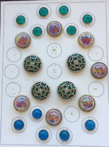 From Button collectors Estate 23 Unique Buttons on Display Card Various sizes