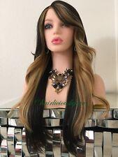 Golden Blonde Dark Brown Wig Ombré Balayage Heat  Ok Wavy Layered 24 Inch Long