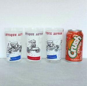 Vintage Anchor Hocking Drinking Glass Set of 3 Automobile Auto Car 10oz