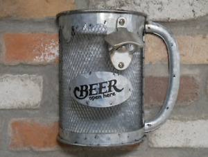 Stein Bottle Opener and Collector Rustic Silver Metal Bar Feature New Boxed