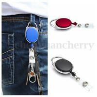 Retractable Carabiner Recoil Key Ring Pull Chain Badge ID Card Holder Belt Clip