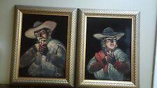 2 Vintage Signed  Black Velvet. western Painting Estate find