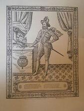 Planche gravure Moyen age portrait de Henri IV par Jean le Clerc 1594