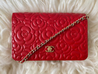 Chanel Red Camellia Flower Embossed Leather Wallet on a Chain Crossbody Bag