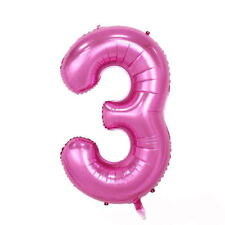 """40"""" Giant Pink Three Year Old Baby First Birthday 3 Month Number Float Balloon"""