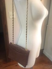 CHANEL VINTAGE FLAP Leather CC LOGO Caramel Brown QUILTED GOLD CHAIN Envelope