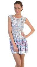 Darling Sylvie Cream Blue Purple Floral Dress XL 14 16 RRP $189 BNWT