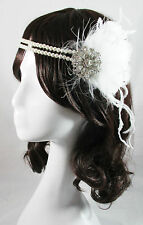 Paris vintage gatsby 1920s costume white flapper feather fascinator head piece