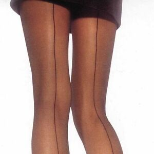 LEG AVENUE CLASSIC SHEER BACK SEAM FOOTED PANTYHOSE IN BLACK OR NUDE ONE SIZE