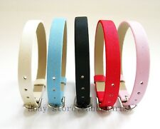 10pcs Frosted  8*210mm PU Leather Bracelet Wristband Fit DIY Slide Charms