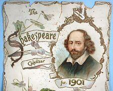 1901 William Shakespeare Calendar Original Raphael Tuck 5 Diff. Cardboard Panels
