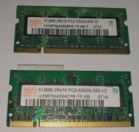 hynix 512mb x 2=1GB RAM MEMORY DDR2-2Rx16 PC2-5300S-555-12 HYMP564S64BP6-Y5 AB-T