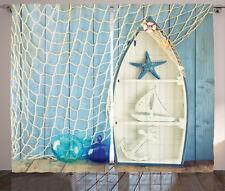 Nautical Curtains Marine Icons Starfish Window Drapes 2 Panel Set 108x84 Inches