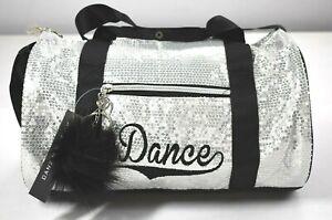 Danz N Motion Danshuz Girls Silver Black Sequin Duffle Dance Bag Small New