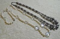 GRAY & WHITE LUCITE & GLASS FAUX PEARL BEADED SILVER TONE NECKLACE LOT