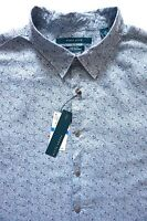 Nwt Perry Ellis Blue Tonal Paisley Print Linen Long Sleeve Sport Shirt XL XXL