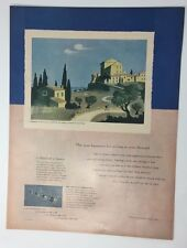 Original Print Ad 1950 DE BEERS Diamond Honeymoon in the Country Jean Hugo