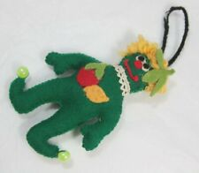 Vintage Green Felt Monster w/ Yellow Hair - Christmas tree decoration