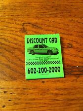 DISCOUNT CAB Taxi Taxicab Drinking Tonight? Get a Free Ride Vintage Matchbook