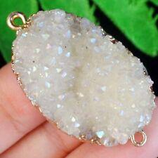 M00715 White Titanium Crystal Agate Druzy Quartz Geode Connector Pendant