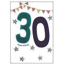 âge Carte d'anniversaire avec Enveloppe brillant numéro Design - Bleu 30th
