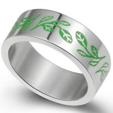 Size 5-15 Green Stainless Steel Tree of Life Ring Christmas Wedding Engagement