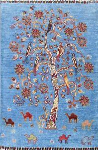 Oriental Animal Design Super Kazak Area Rug Wool Hand-knotted Blue Carpet 3x4 ft