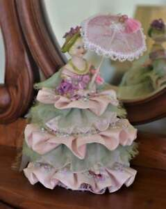 Reduced Carrie Handmade Porcelain Sitting Half Doll with Parasol