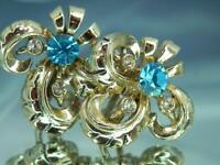 Vintage 50's X Sparkling Ice Blue Rhinestone Gold Tone Screw Back Earrings 721o0