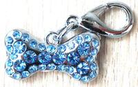 bijou breloque pour chien ou chat os avec strass bleu scientillants