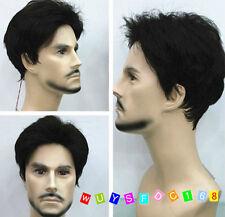 FASHION Uomo Uomini Boy corto nero naturale dei capelli Parrucche + Parrucca Cap