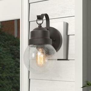 LNC Greet 1-Light Rusty Bronze Outdoor Barn Light Sconce with Clear Seeded Glass
